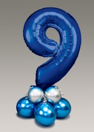 Chrome Blue and Silver Large Number 9 Balloon Centrepiece