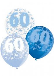 Blue Glitz 60th Birthday Party Balloons Pack 6