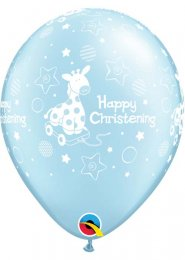 Inflated Blue Happy Christening Helium Party Balloon