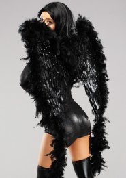 Deluxe Diamante Black Feather Angel Wings