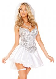 Womens Deluxe Sequin Newlywed Bride Costume
