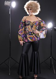 Ladies Plus Size 70s Black Hippy Costume