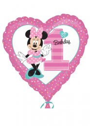 Inflated Pink Minnie Mouse 1st Birthday Heart Balloon