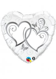 Inflated Large Silver Entwined Hearts Wedding Helium Balloon 36""