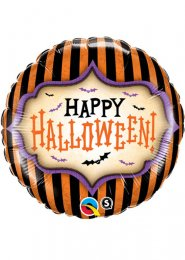 Inflated Gothic Striped Happy Halloween Helium Balloon