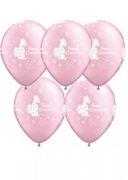 Pearl Baby Pink Christening Party Balloons Pack 5