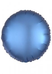Inflated Azure Blue Satin Luxe Circle Helium Balloon