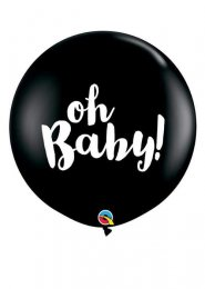 Inflated Black Oh Baby Gender Reveal Balloon with Confetti