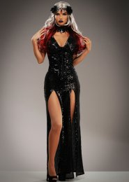 Womens Deluxe Black Sequin Wicked Evil Queen Costume
