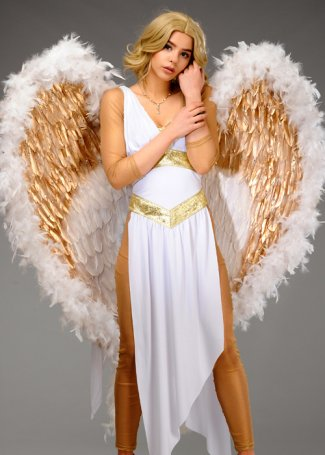 Luxury Large White and Gold Diamante Goddess Festival Wings