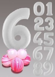 White and Magenta Pink Marble Large Number Balloon Centrepiece