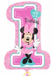 Inflated Pink Minnie Mouse 1st Birthday Supershape Balloon