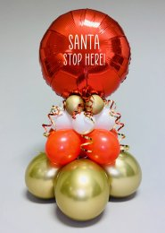 Inflated Christmas Santa Stop Here Tall Red Balloon Centrepiece