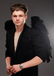 Mens Medium Black Feather Gothic Angel Wings
