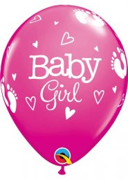 Inflated Bright Pink Baby Girl Helium Party Balloon