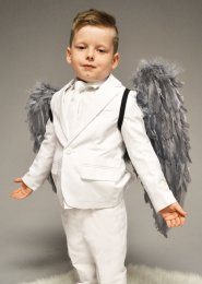 Childrens Gothic Fallen Angel Grey Feather Wings
