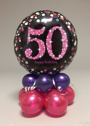 Black And Pink 50th Birthday Balloon Centrepiece