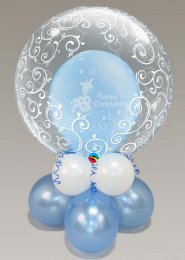 Inflated Blue Christening Double Bubble Balloon Centrepiece