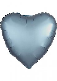 Inflated Steel Blue Satin Luxe Heart Helium Balloon