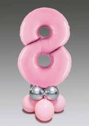 Pastel Pink and Silver 8th Birthday Number Balloon Centrepiece