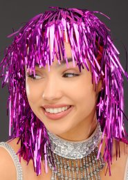 Bright Pink Tinsel Wig