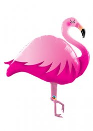 Inflated Large Pink Flamingo Helium Balloon