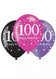 Pink and Black 100th Birthday Party Balloons Pk6