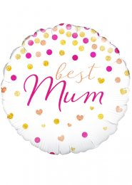 Inflated Pink and Gold Confetti Dots Best Mum Helium Balloon