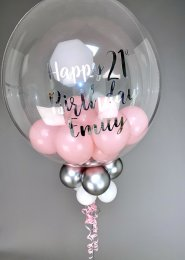 Pink and Silver Personalised Mini Balloon Filled Bubble Balloon