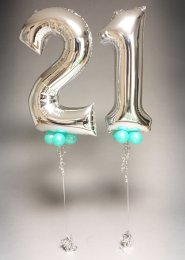 Metallic Silver 21st Birthday Number Balloon Set