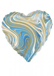 Inflated Blue and White Marble Heart Helium Balloon