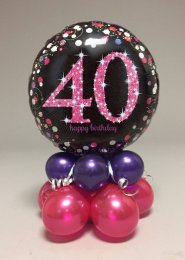 Black And Pink 40th Birthday Balloon Centrepiece
