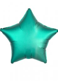 Inflated Jade Green Satin Luxe Star Helium Balloon