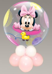Inflated Large Minnie Mouse Baby Girl Bubble Balloon Centrepiece