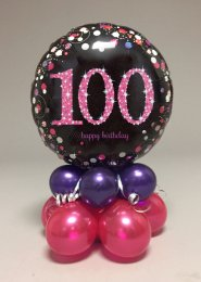Black And Pink 100th Birthday Balloon Centrepiece