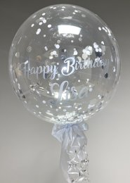 Personalised Silver Confetti Filled Helium Bubble Balloon