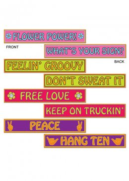 60s Hippy Street Signs Party Decorations Pk4