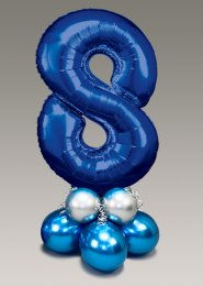 Chrome Blue and Silver Large Number 8 Balloon Centrepiece