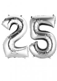 Large Silver 25th Anniversary Large Number Balloons on Weights