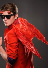 Mens Demon Red Feather Gothic Angel Wings