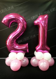 Metallic Pink 21st Number Balloon Centrepiece Set