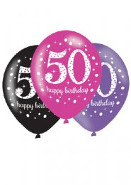 Pink and Black 50th Birthday Party Balloons Pk6