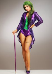 Womens Deluxe Sequin The Joker Style Costume