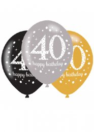 Black and Gold 40th Birthday Party Balloons Pk6