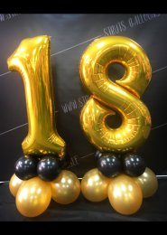 Metallic Gold Number 18th Birthday Balloon Set