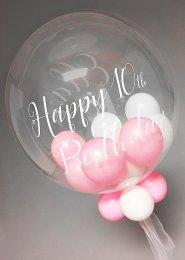 Pink Personalised Multi Balloon Filled Deco Bubble Balloon