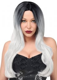 Womens Deluxe Halloween Grey Wig with Dark Roots
