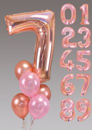 Large Inflated Rose Gold Number Helium Balloon Cluster