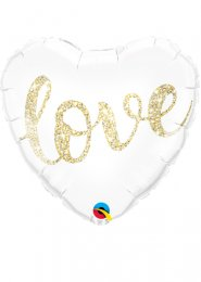 Inflated Gold Glitter Love Wedding Helium Heart Balloon