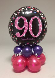 Black And Pink 90th Birthday Balloon Centrepiece